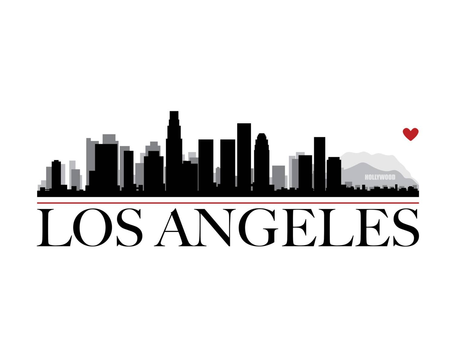 Los Angeles City Skyline With Heart Diy Printable Wall Art Intended For Newest Los Angeles Wall Art (View 10 of 20)