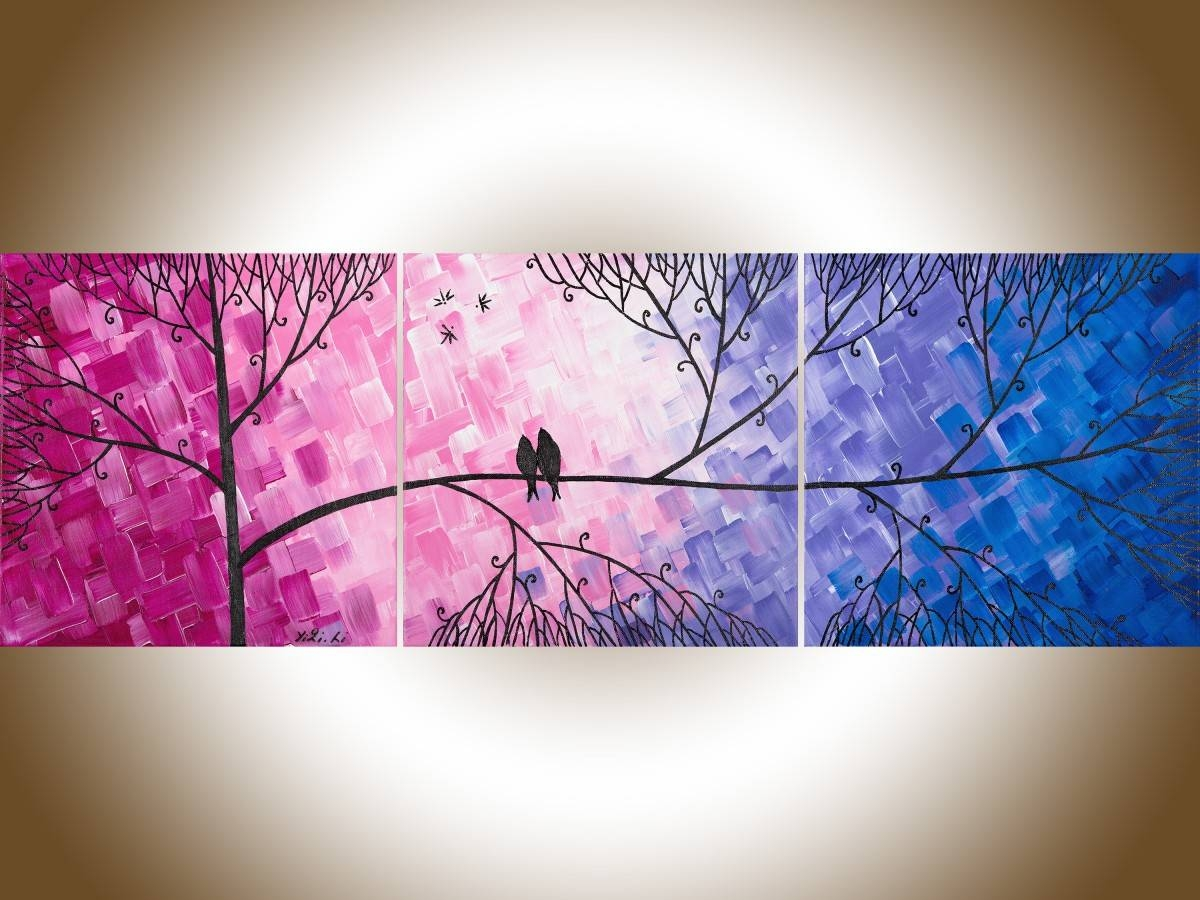 "Love And Romanceqiqigallery 36""x12"" Original Tree And Love Regarding 2018 Colorful Abstract Wall Art (View 14 of 20)"