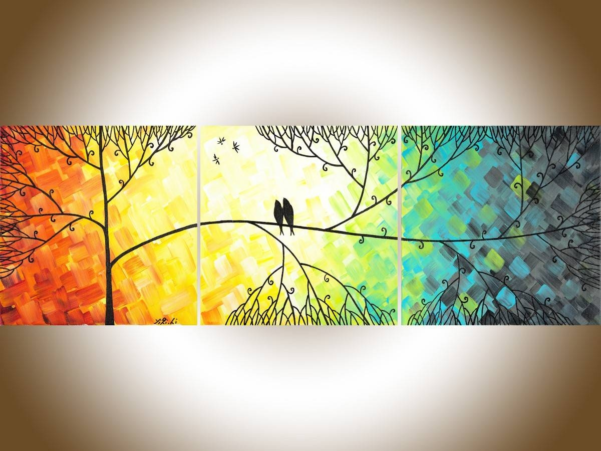 "Love And Romanceqiqigallery 36""x12"" Original Tree And Love Regarding Newest Yellow And Blue Wall Art (View 4 of 20)"