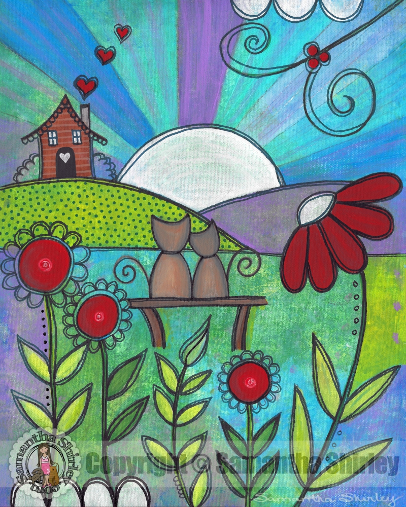 Love Blooms – Kids Art Canvas Panel Children's Decor – Kitty Cats With Regard To Recent Childrens Wall Art Canvas (View 15 of 20)