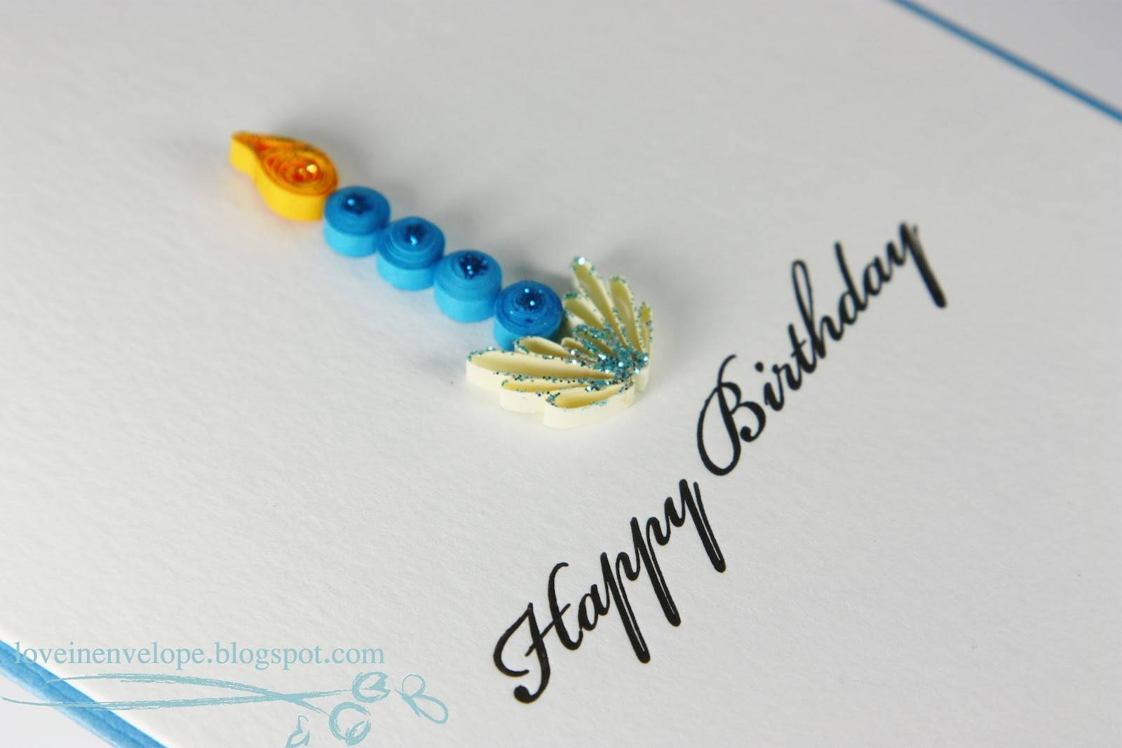 Love In Envelope: Quilled Candle Happy Birthday Letterpress Blue Card With Most Popular Happy Birthday Wall Art (View 17 of 20)
