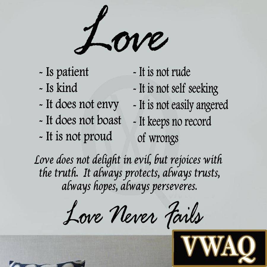 Love Is Patient Love Is Kind Wall Art Decor Vinyl Decal Sayings Regarding Best And Newest Love Wall Art (Gallery 18 of 20)