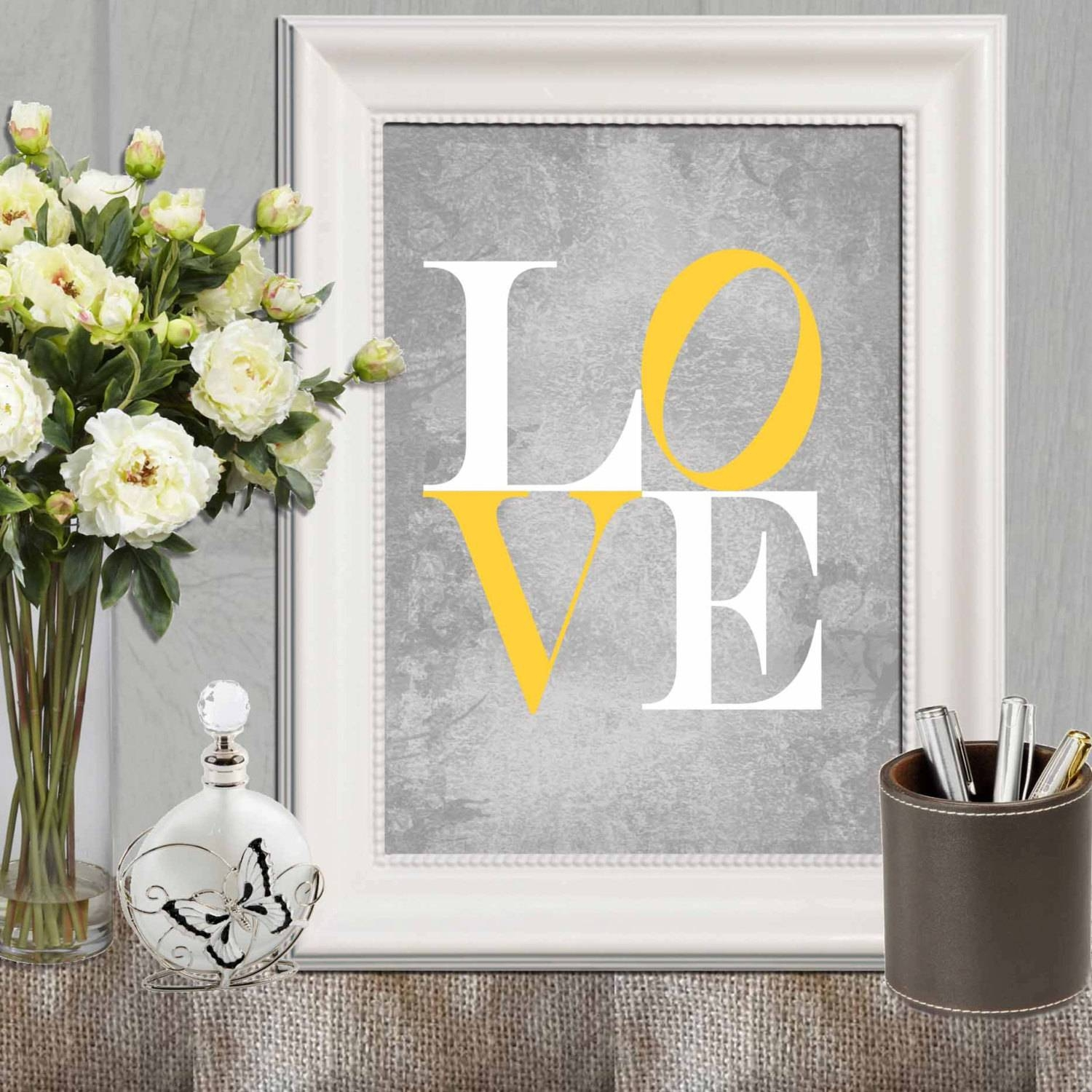 Love Print Yellow Gray Love Printable Nursery Love Print Pertaining To Newest Gray And Yellow Wall Art (View 11 of 20)