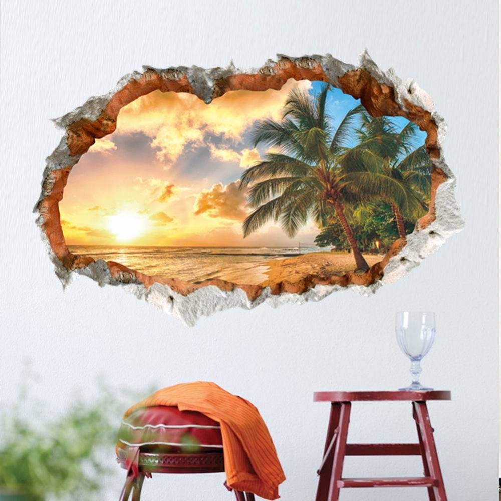 Lovespace 3D Windows Beach Sunshine Tree Coconut Palm Wall Sticker Intended For Most Popular Space 3D Vinyl Wall Art (View 4 of 20)