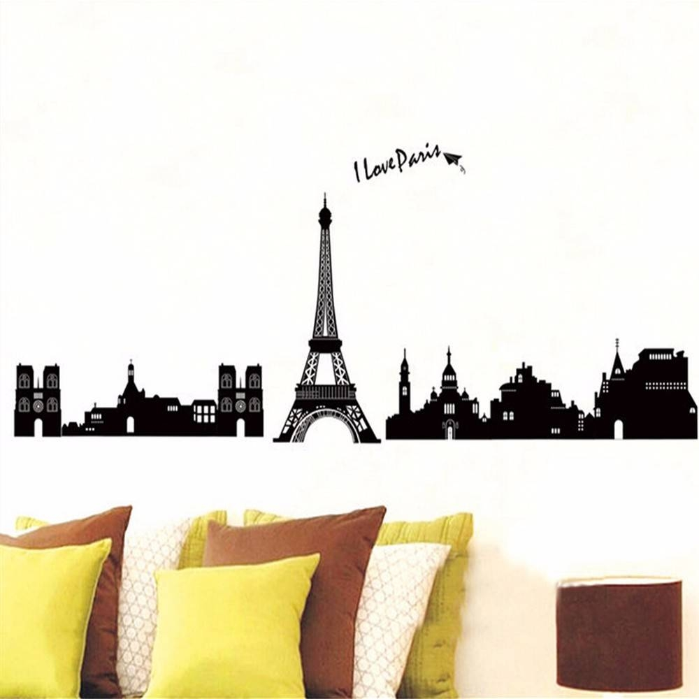 Lp Black Paris Landscape Wall Art Vinyl Wall Stickers For Kids Within Latest Paris Themed Stickers (View 13 of 15)