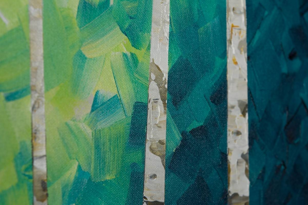 """Lucky Number 9qiqigallery 36"""" X 12"""" Colourful Painting Narrow With Regard To Recent Blue And Green Wall Art (View 4 of 20)"""