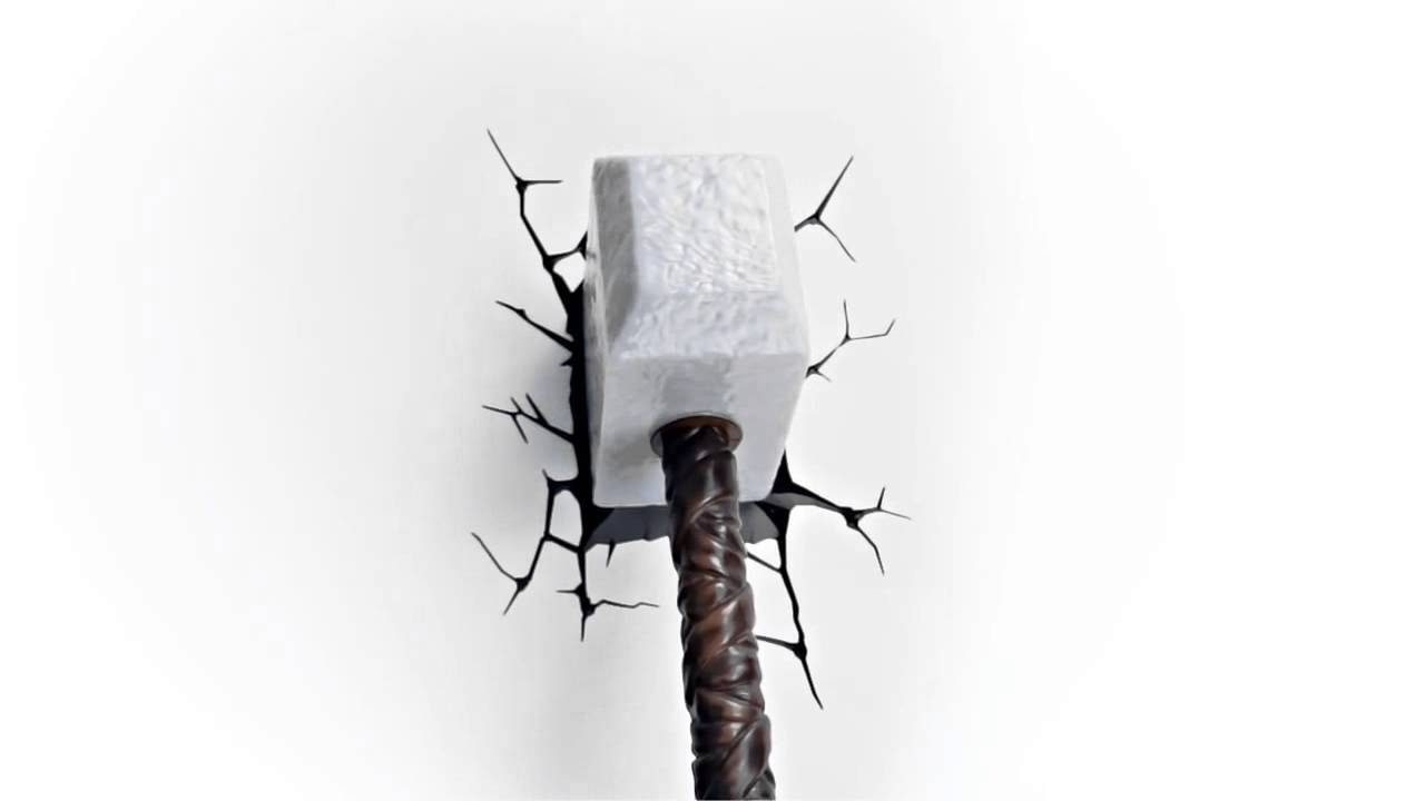 Luminária Martelo Thor 3D Wall Art Thor Hammer Nightlight – Youtube Within Most Popular Thor Hammer 3D Wall Art (View 8 of 20)