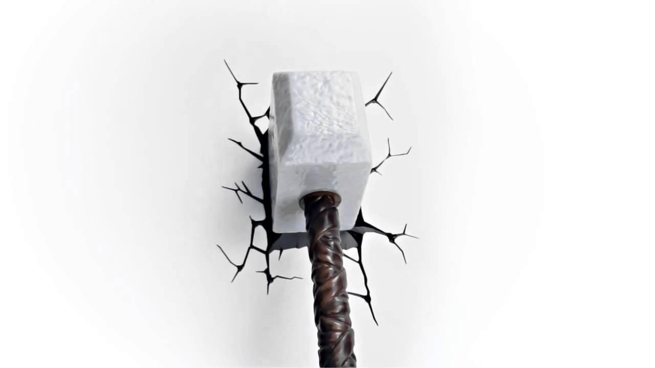 Luminária Martelo Thor 3d Wall Art Thor Hammer Nightlight – Youtube Within Most Popular Thor Hammer 3d Wall Art (View 12 of 20)