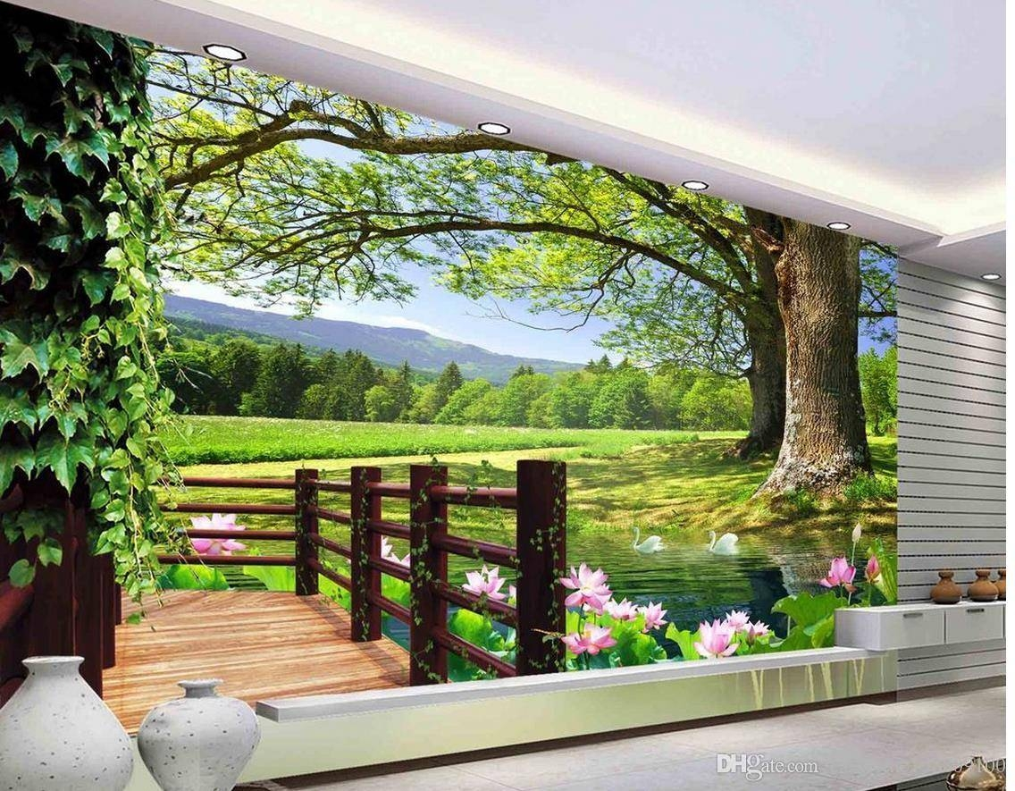 Luxury European Modern Hd 3d Tree Landscape Background Wall Mural Pertaining To Recent 3d Wall Art Wallpaper (View 15 of 20)