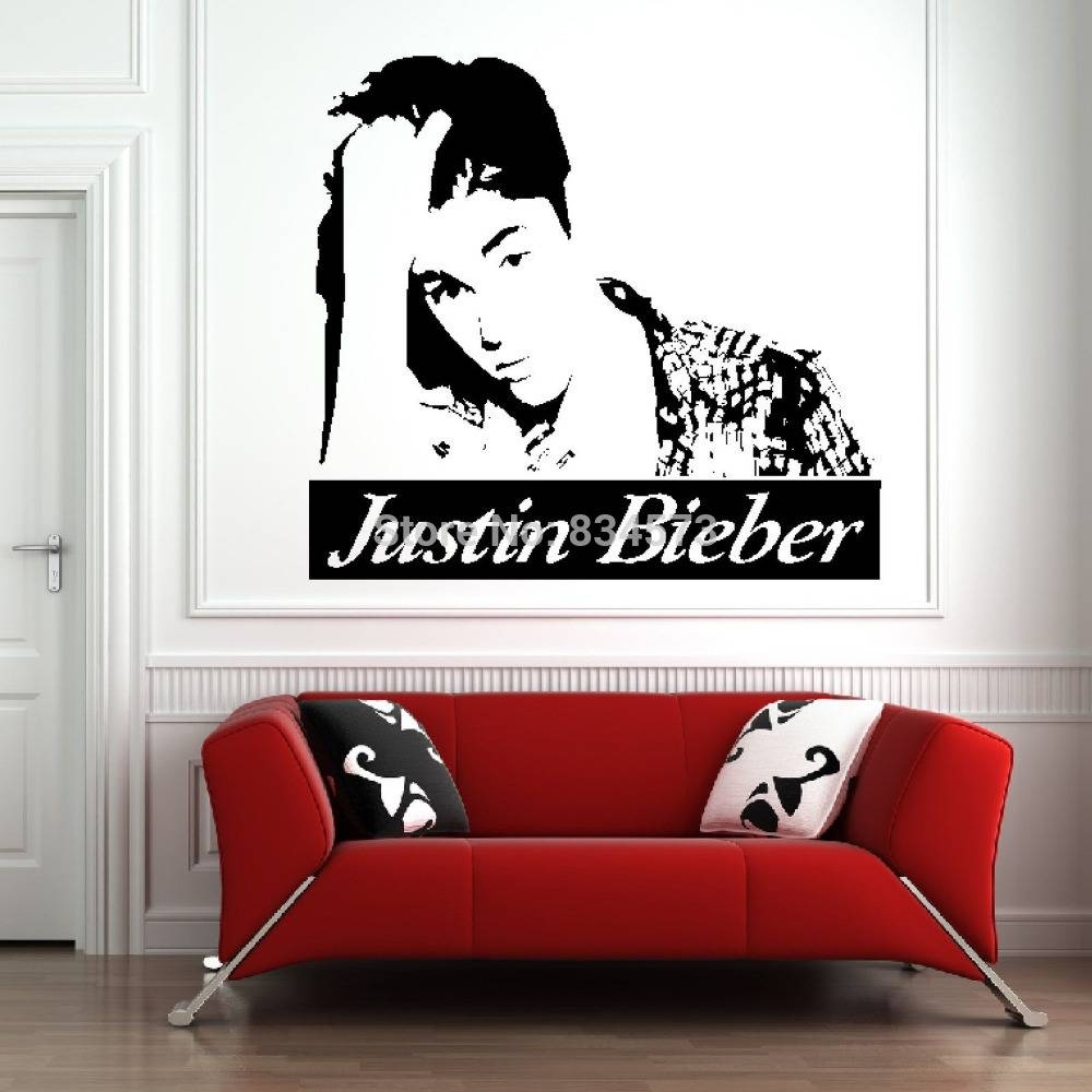 Mad World Celebrity Silhouette Music Wall Art Stickers Wall Decal Throughout Best And Newest Justin Bieber Wall Art (View 5 of 20)