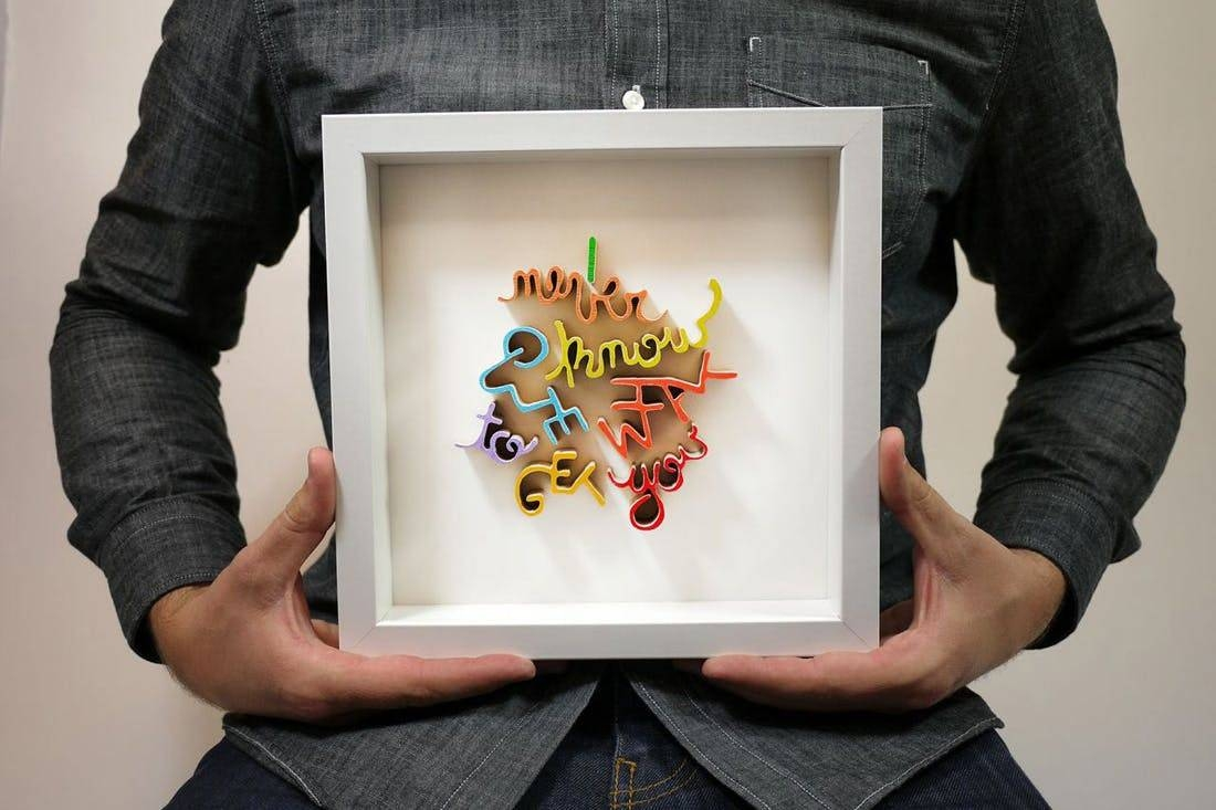 Made Us Look: Custom Hand Cut Wooden Word Wall Art | Brit + Co Intended For Most Current Wood Word Wall Art (View 8 of 22)
