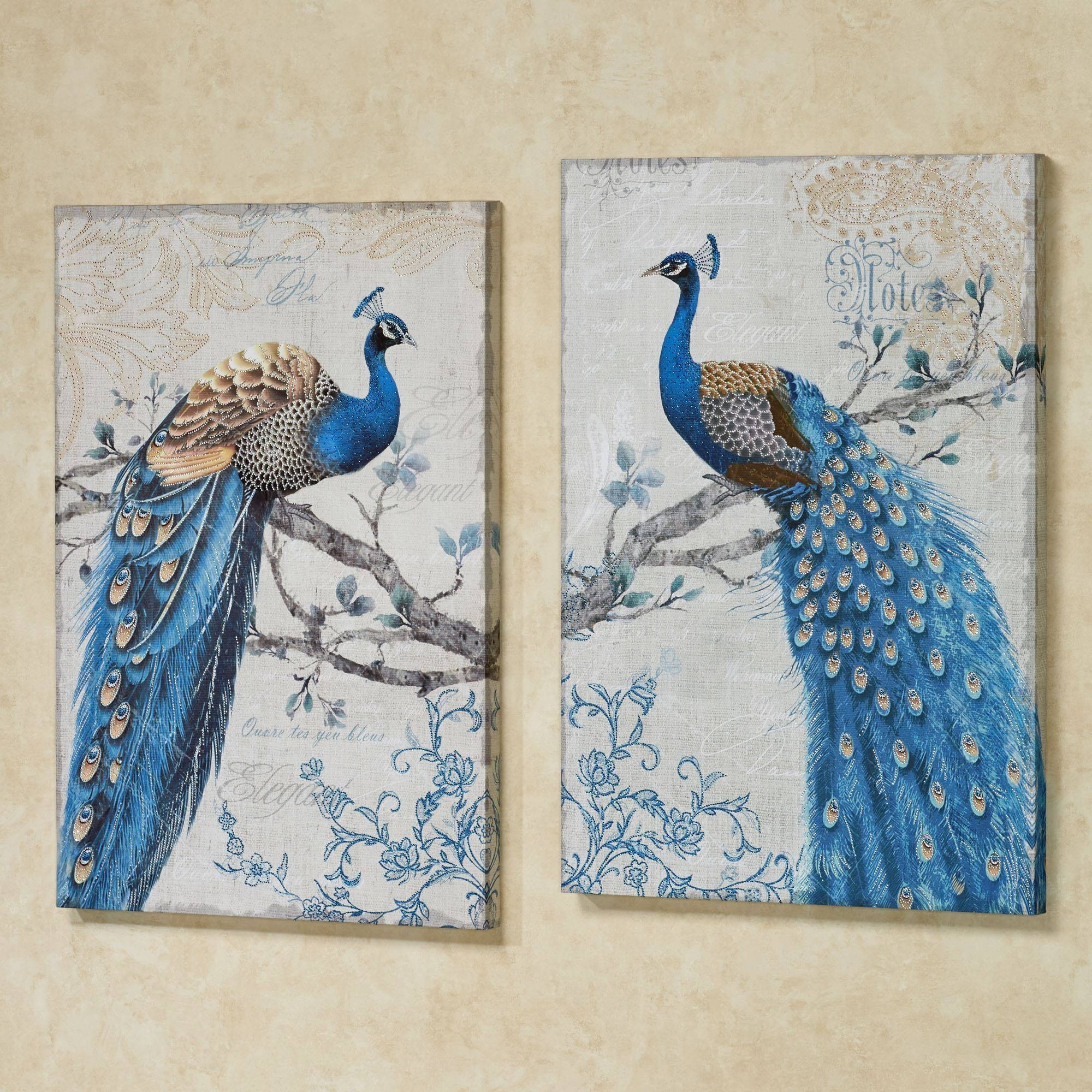 Magnificent Peacock Giclee Canvas Wall Art Set Intended For Most Recently Released Blue And Silver Wall Art (View 16 of 20)