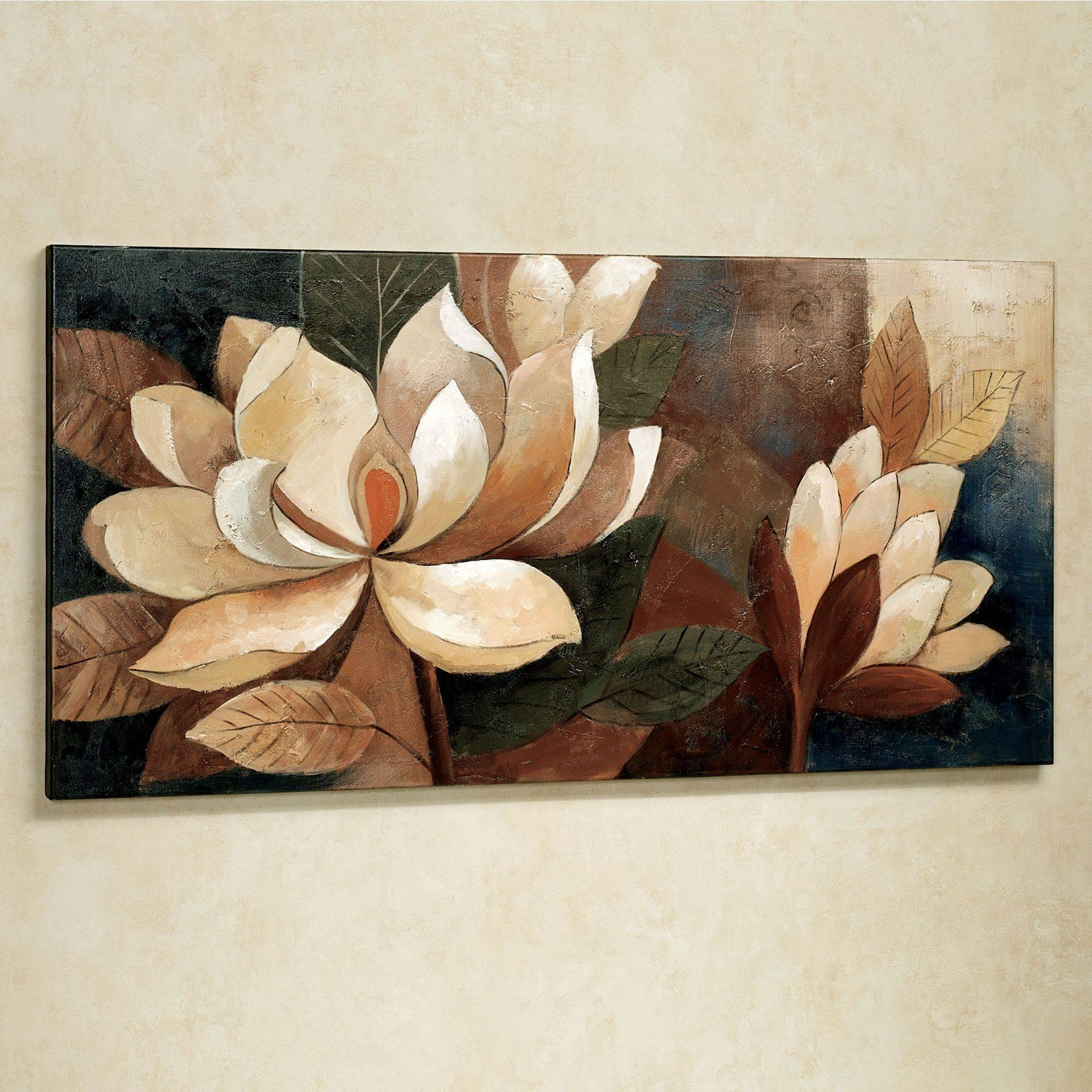Magnolia Glow Floral Canvas Wall Art For Recent Flower Wall Art Canvas (View 12 of 20)