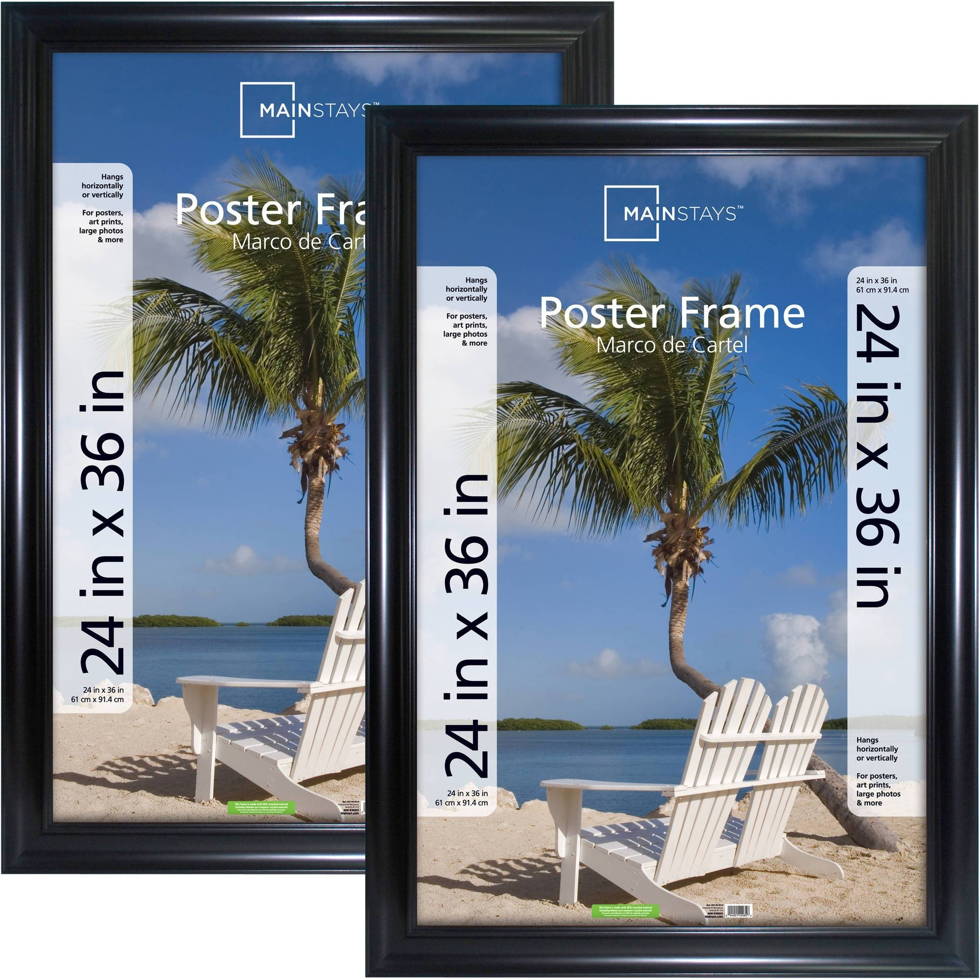 Mainstays 24X36 Wide Black Poster And Picture Frame, Set Of 2 Pertaining To Current Walmart Framed Art (View 9 of 20)