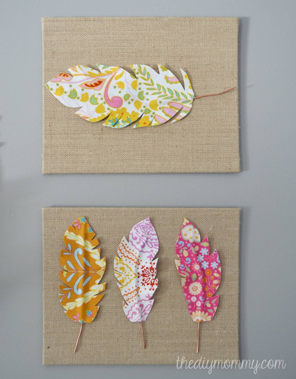 Make Fabric Feather Wall Art | The Diy Mommy For Most Recent Fabric Wall Art (View 11 of 20)