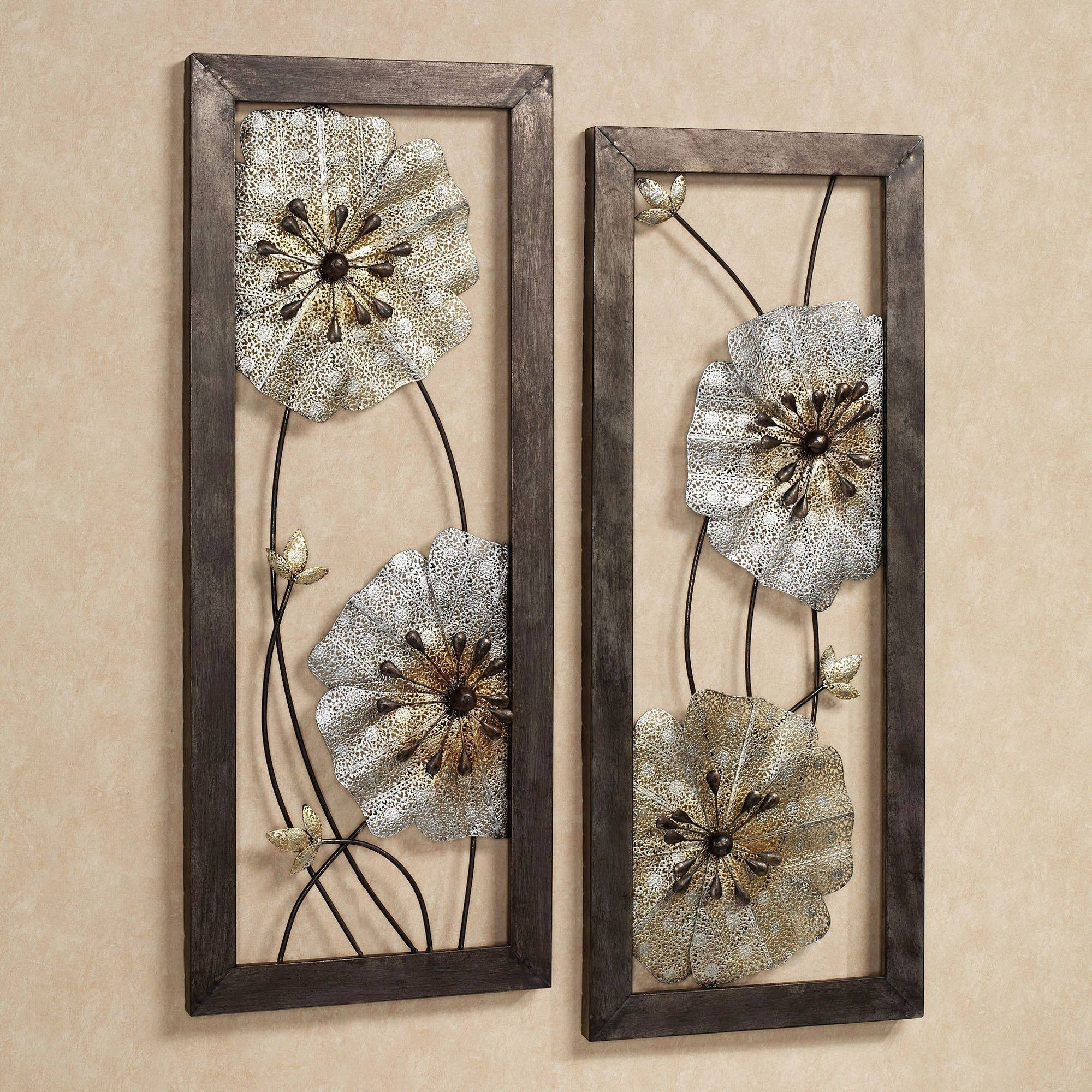 Malacia Openwork Floral Metal Wall Art Set For Newest Metallic Wall Art (View 1 of 25)