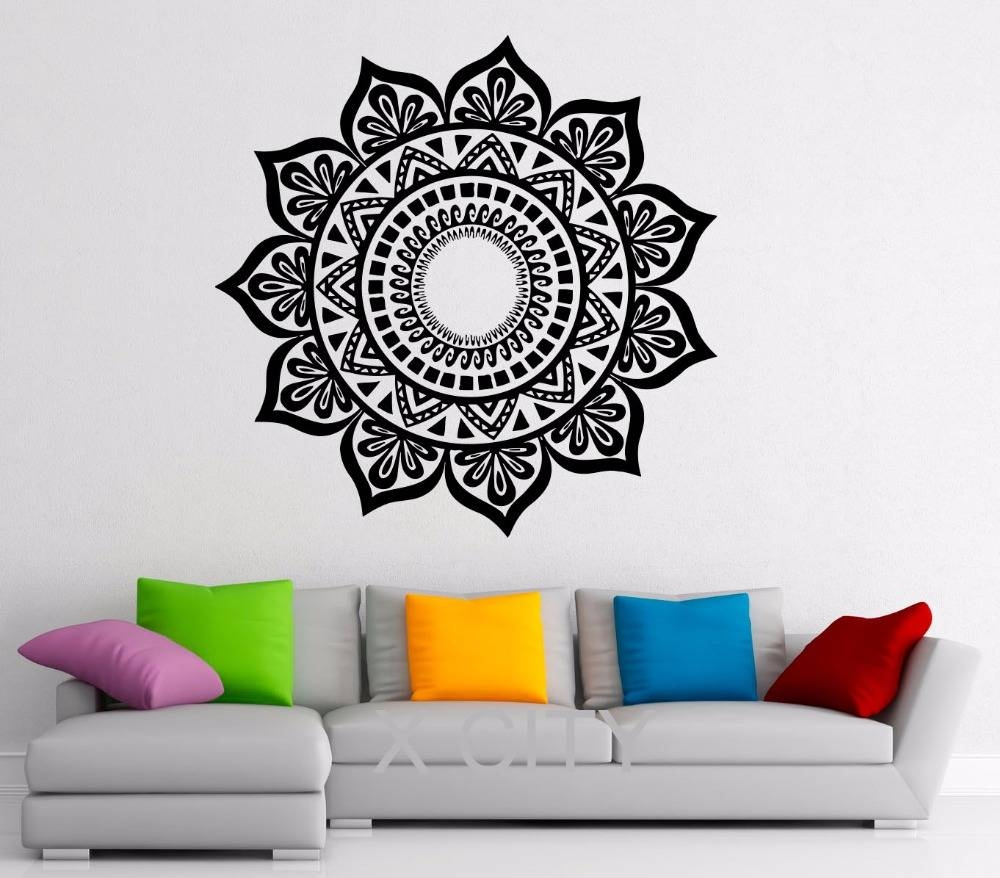 Mandala Stickers Indian Pattern Lotus Flower Vinyl Decal Namaste Within Most Current Pattern Wall Art (View 11 of 20)