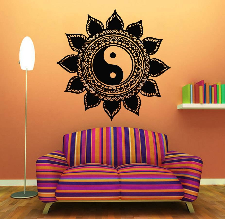 Mandala Wall Decals Indian Floral Design Sun Flower Decal Yin In Most Up To Date Yin Yang Wall Art (View 2 of 30)