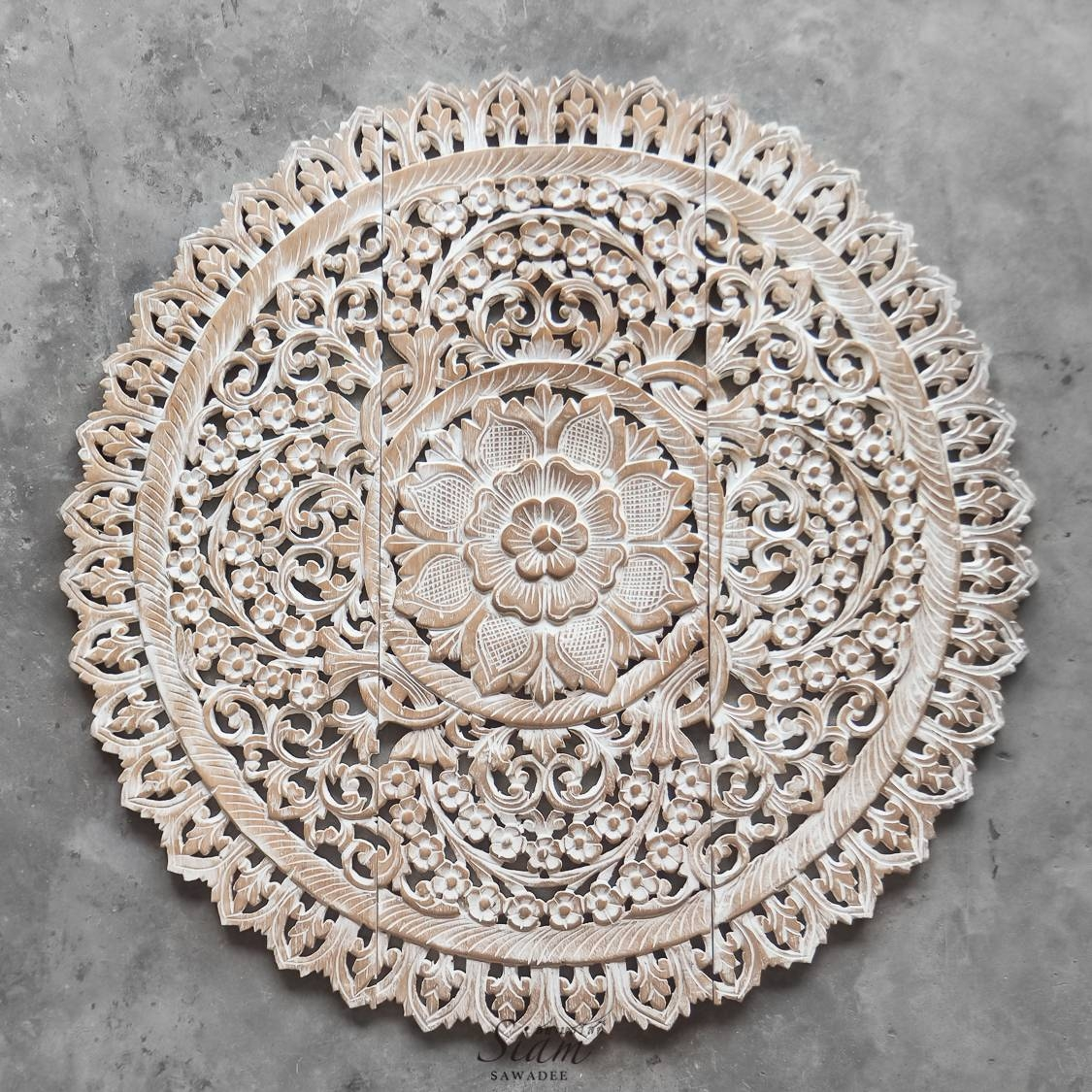 Mandala Wood Carving Wall Panel Decor – Siam Sawadee Throughout Most Recent Wood Carved Wall Art Panels (View 13 of 25)