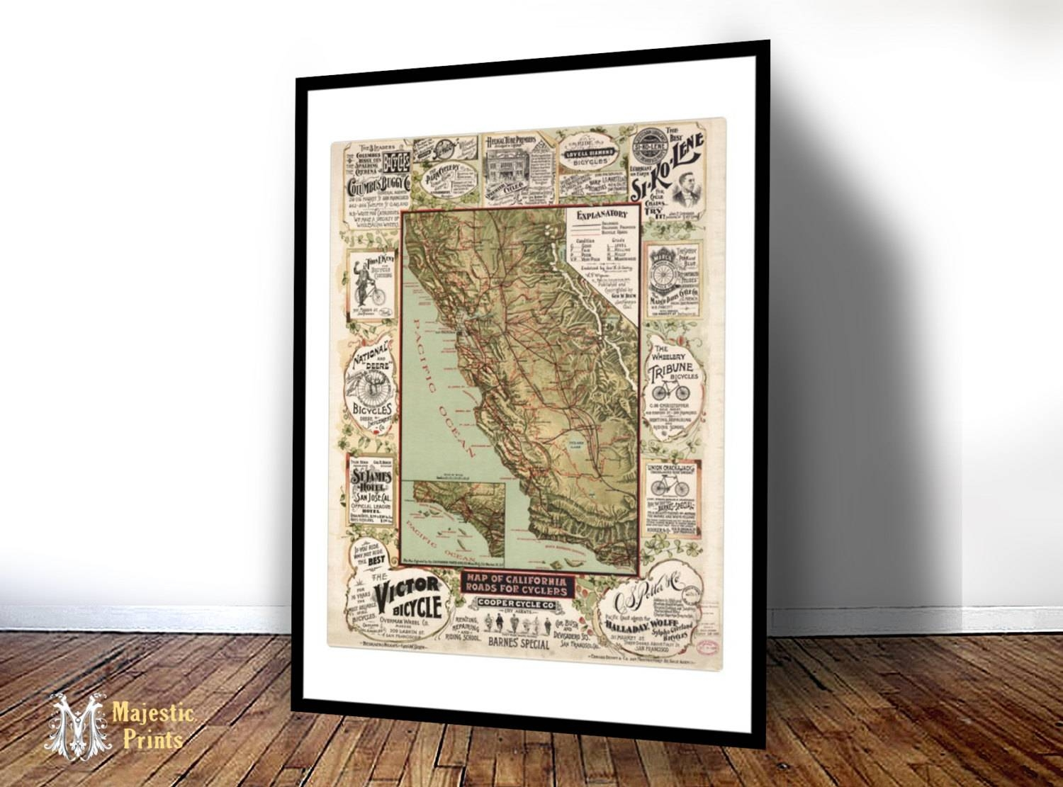 Map Of California Roads For Cyclers – Old Maps And Prints In Newest Cycling Wall Art (View 15 of 25)