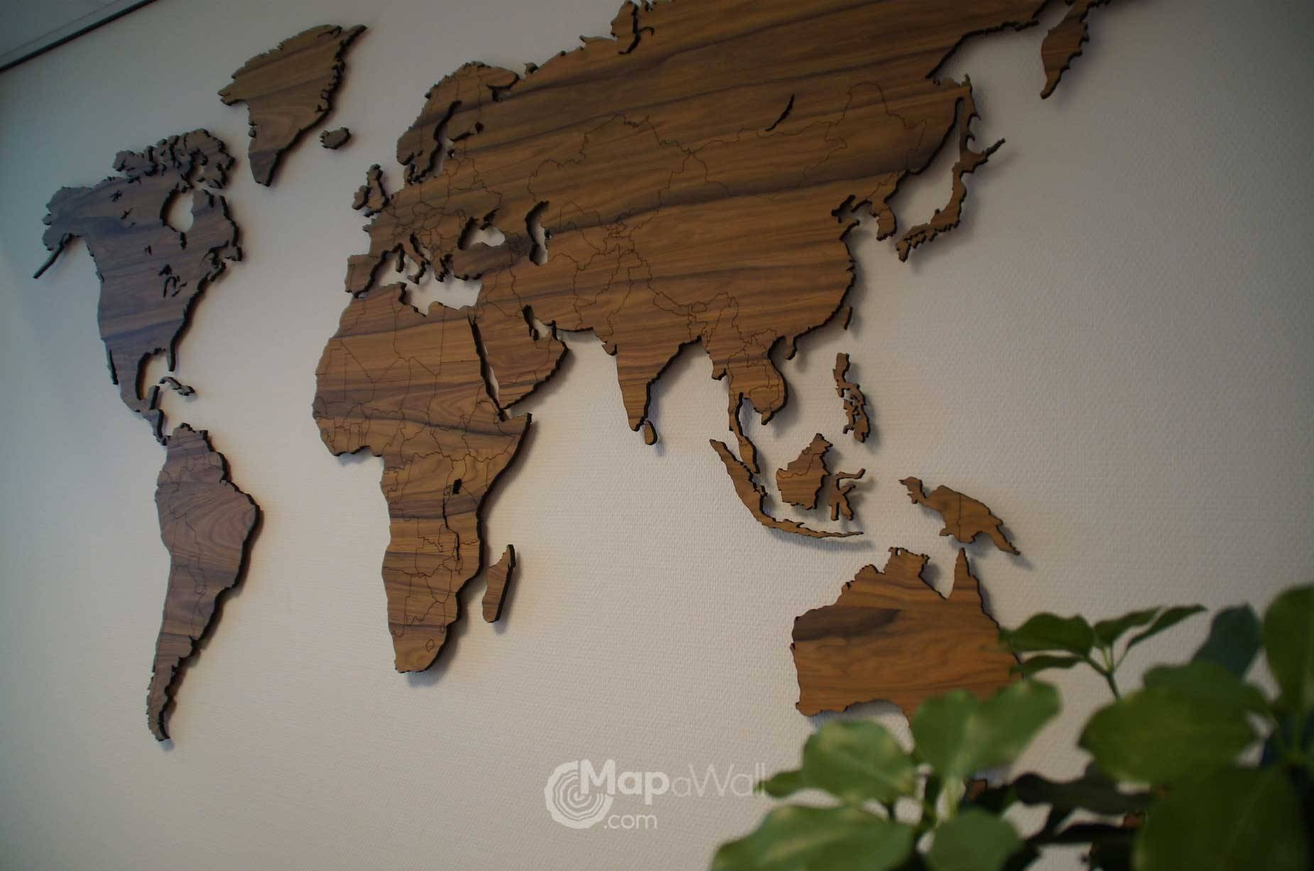 Mapawall Wooden World Map Palisander 2 – Mapawall Pertaining To Most Popular Wooden World Map Wall Art (View 9 of 20)