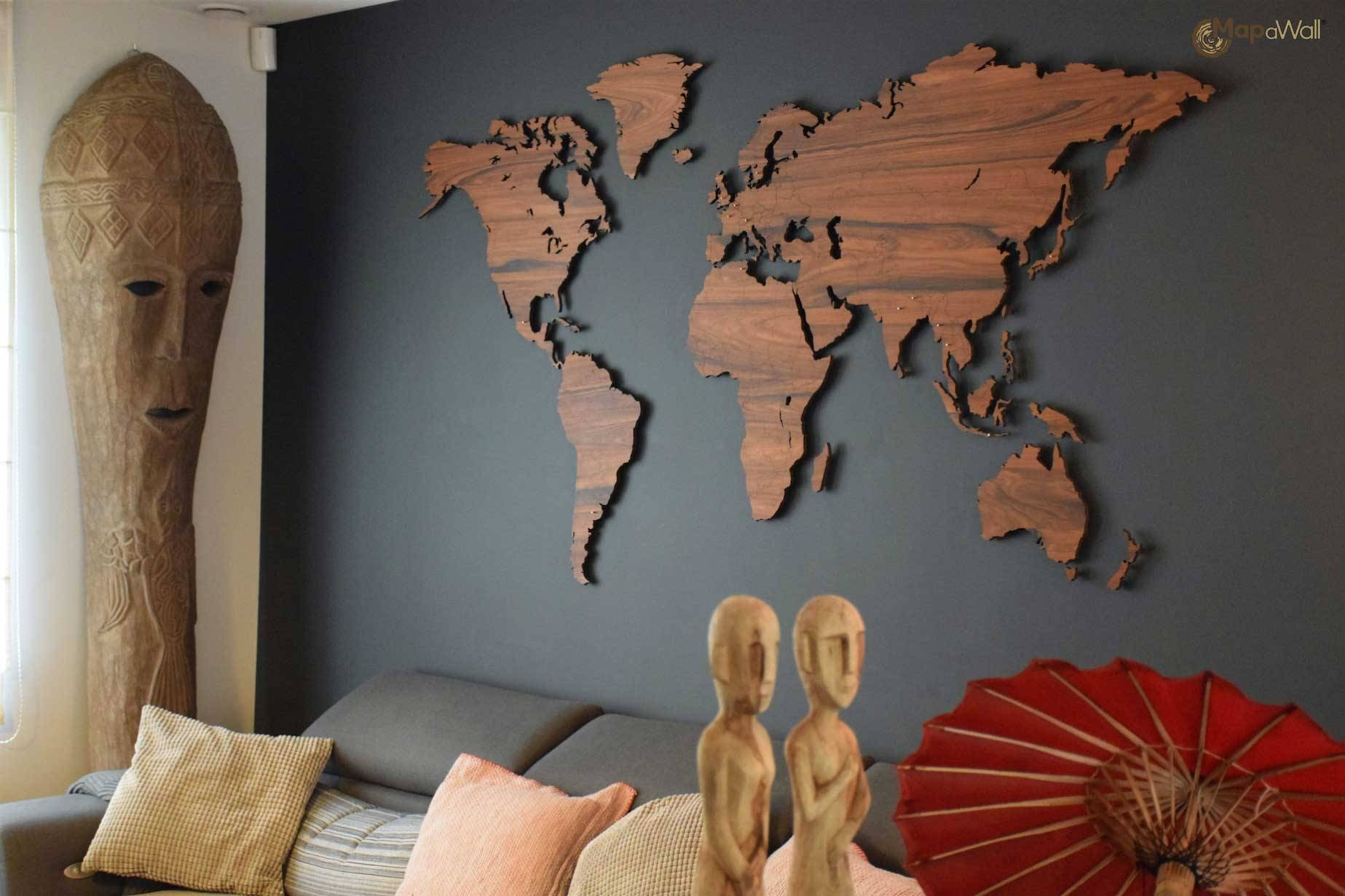 Mapawall Wooden World Map Palisander With Country Borders Inside Latest World Map Wood Wall Art (View 9 of 20)
