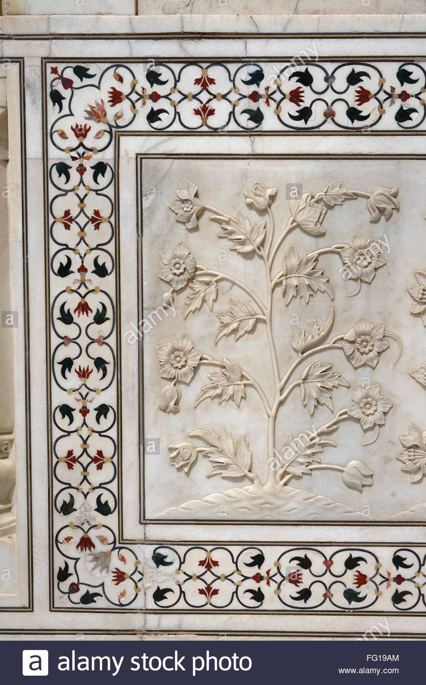 Marble Inlay Work Interlocking And Lower Walls Sculpted Realistic Intended For Recent Taj Mahal Wall Art (View 15 of 25)