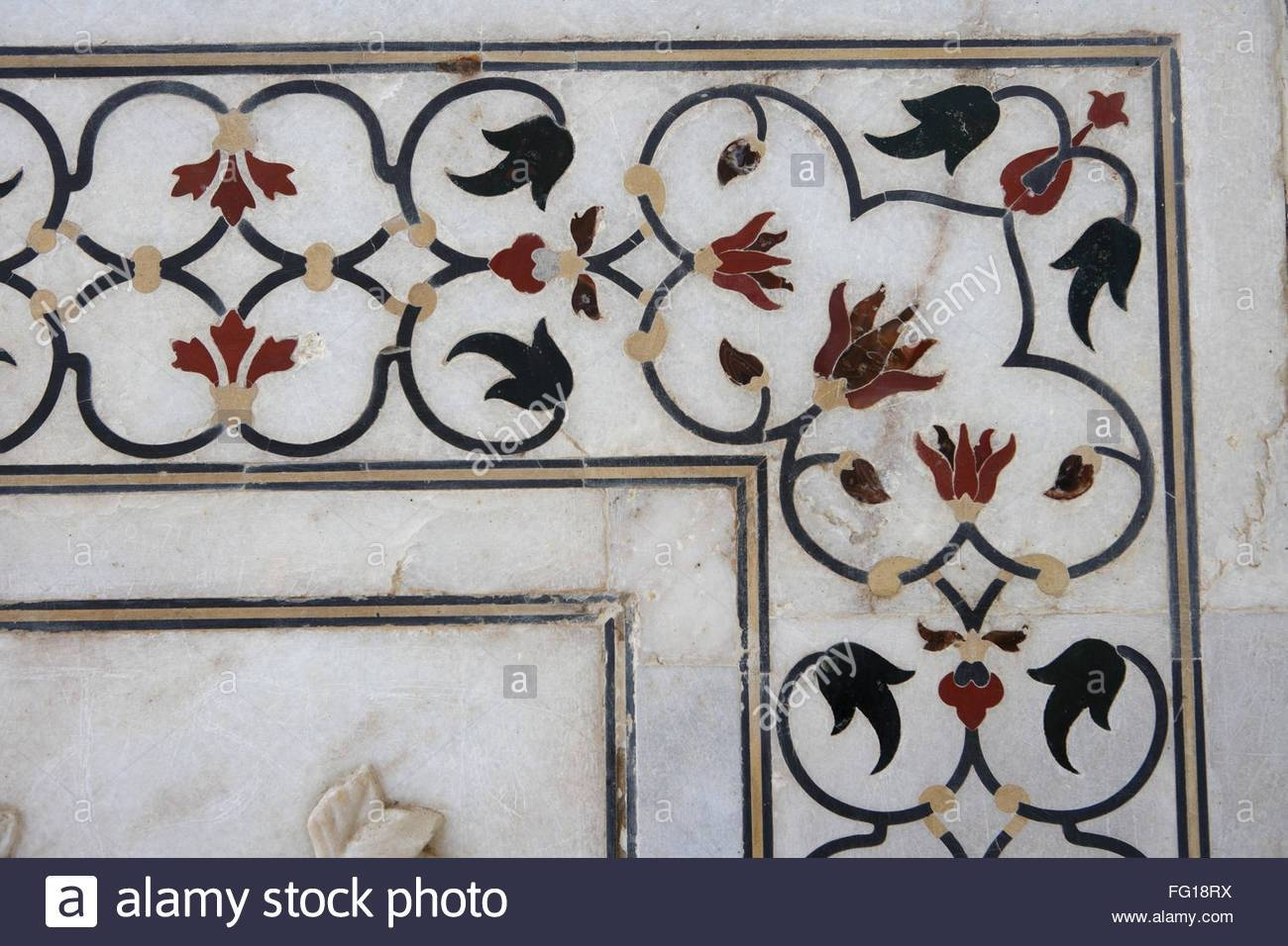 Marble Inlay Work Of Interlocking Designs On Wall Of Taj Mahal With Most Current Taj Mahal Wall Art (View 16 of 25)