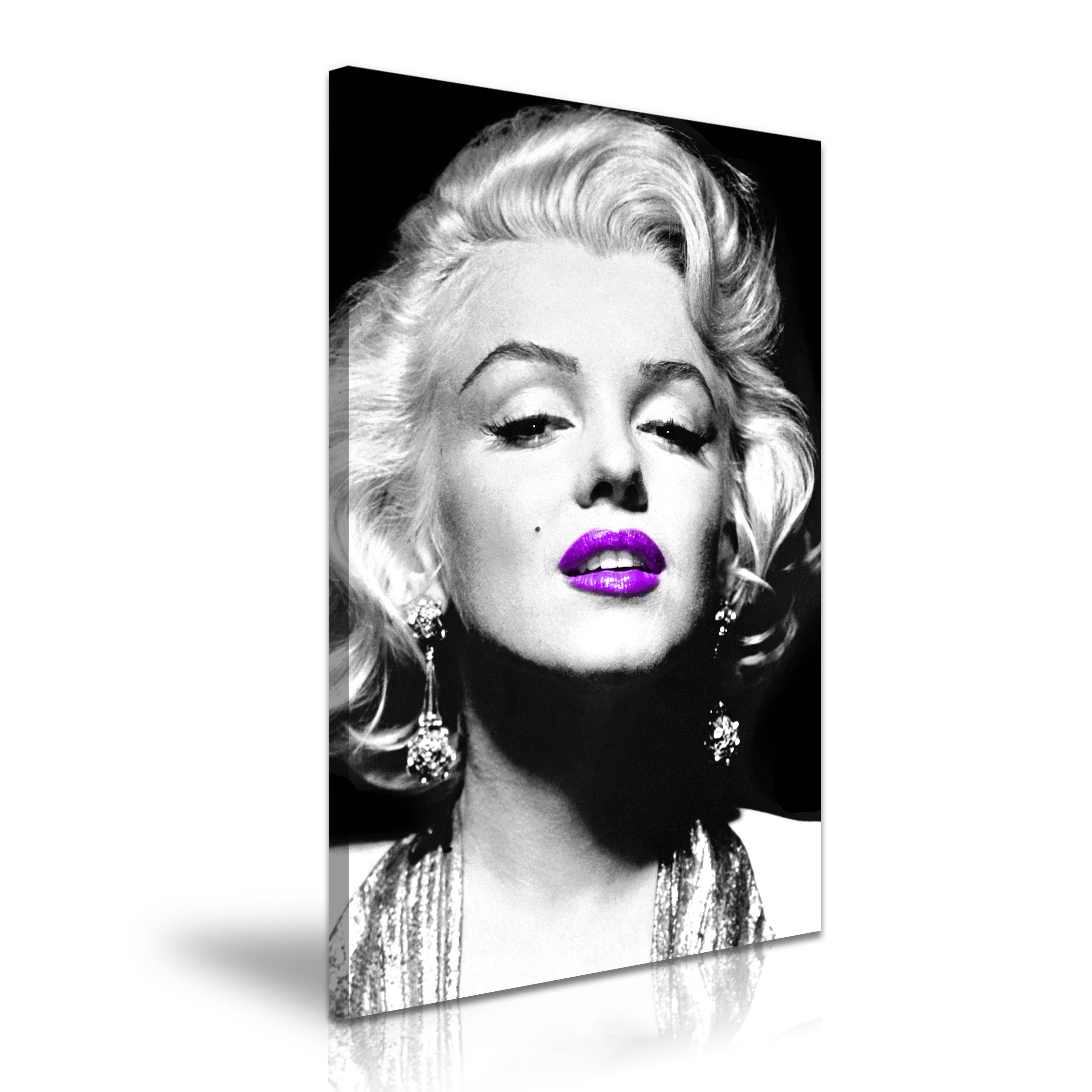 Marilyn Monroe Icon Modern Wall Art Canvas Print Framed ~ Purple For Best And Newest Marilyn Monroe Black And White Wall Art (View 6 of 15)