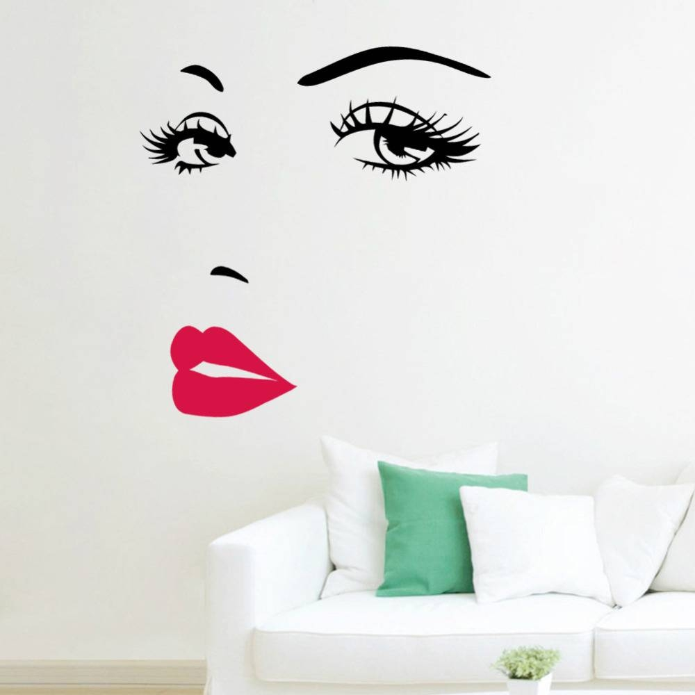 Marilyn Monroe Quotes Lips Vinyl Wall Stickers Art Mural Home In Latest Marilyn Monroe Wall Art Quotes (View 9 of 25)