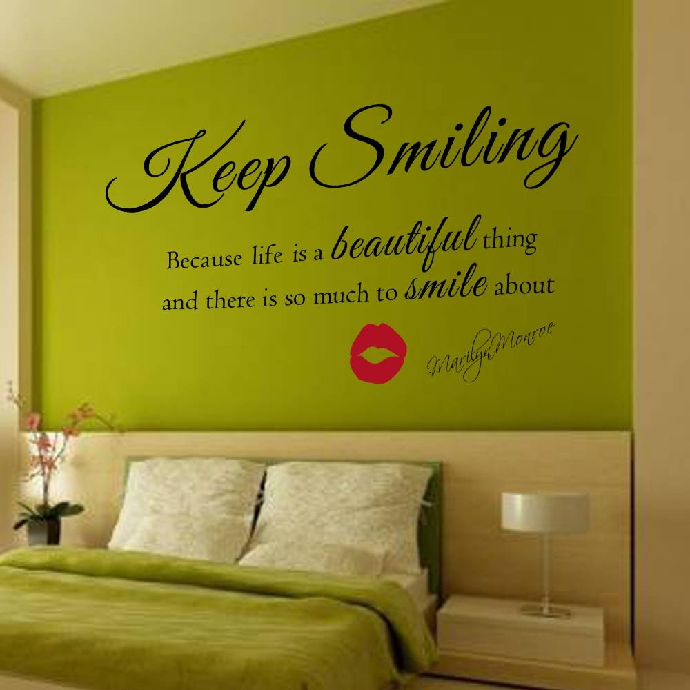 Marilyn Monroe Wall Decal Keep Smiling Wall Stickers Beautiful For Best And Newest Marilyn Monroe Wall Art Quotes (View 11 of 25)