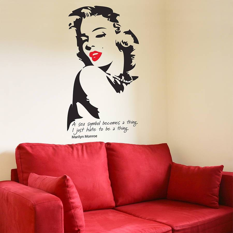 Marilyn Monroe Wall Stickerthe Bright Blue Pig In Most Up To Date Marilyn Monroe Wall Art Quotes (View 17 of 25)