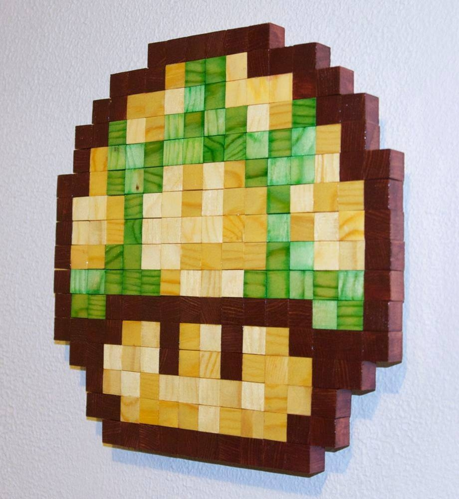 Mario 1Up Mushroom Wooden Pixel Wall Art For Most Popular Mushroom Wall Art (View 8 of 20)
