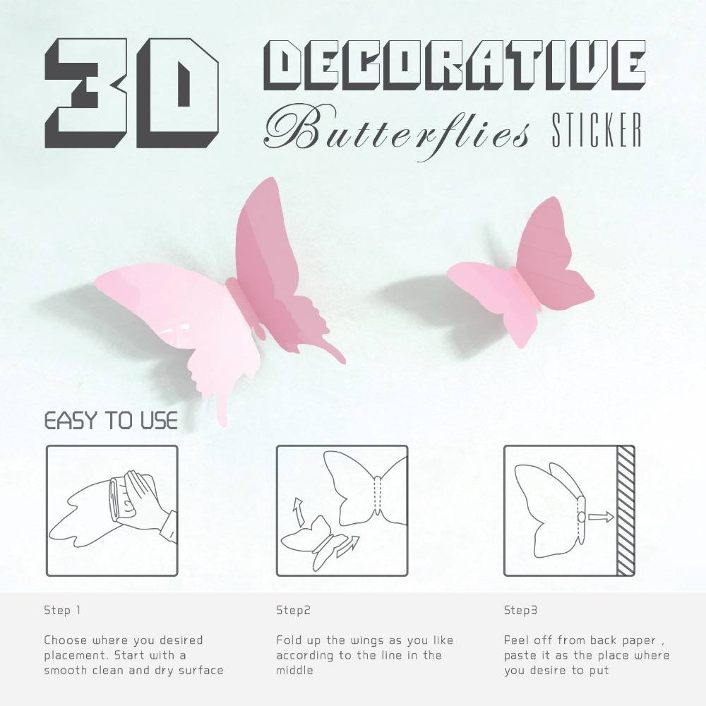 Mariposa In Gossip Girl 3d Pink Butterfly Wall Sticker 12pcs Pvc Pertaining To Most Popular Pink Butterfly Wall Art (View 12 of 20)