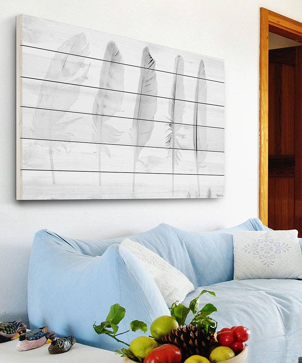 Marmont Hill Five White Feathers White Wood Wall Art | Zulily Within Recent White Wooden Wall Art (View 7 of 20)
