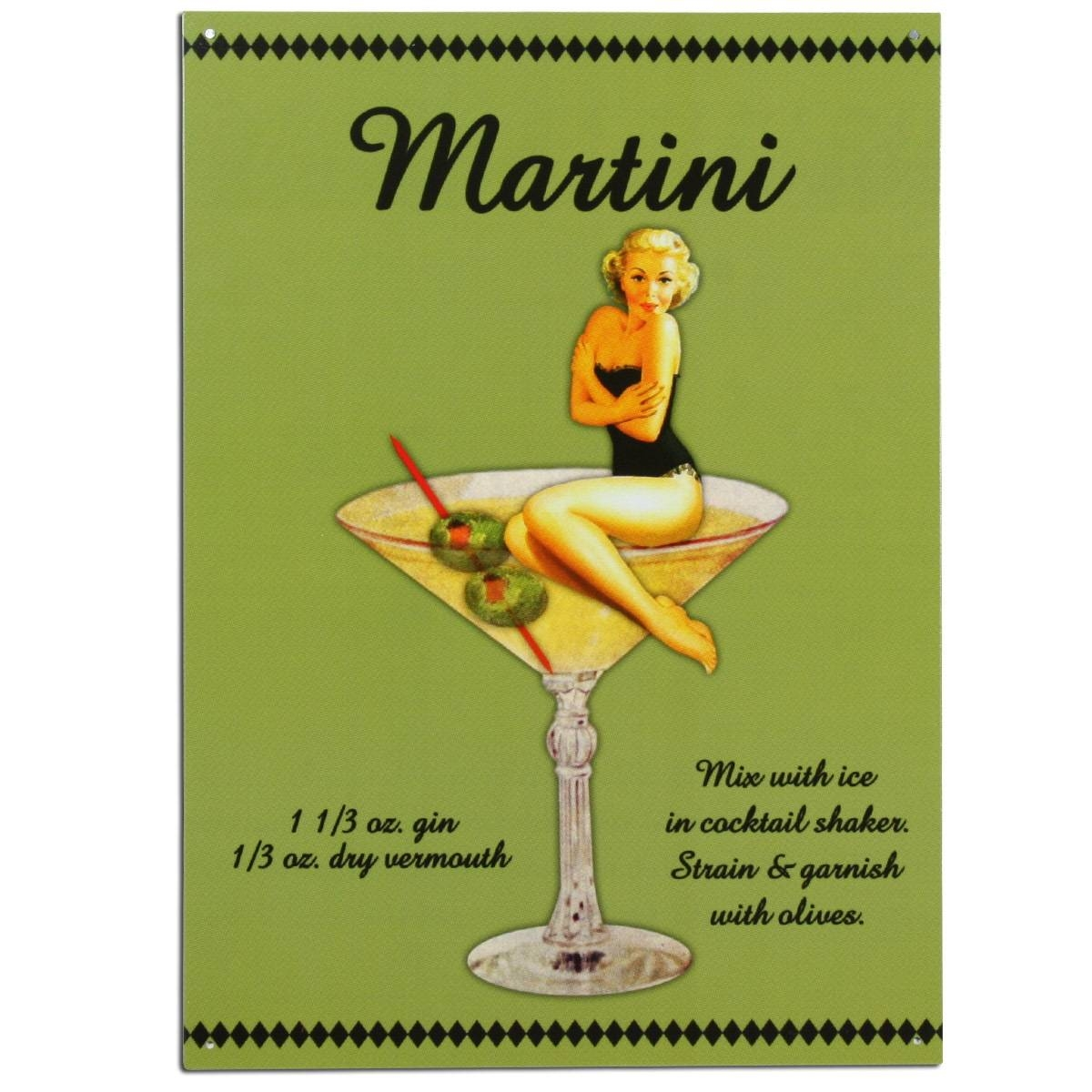 Martini Cocktail Recipe Pinup Girl Metal Sign | Bar Decor Intended For Recent Martini Metal Wall Art (View 21 of 30)