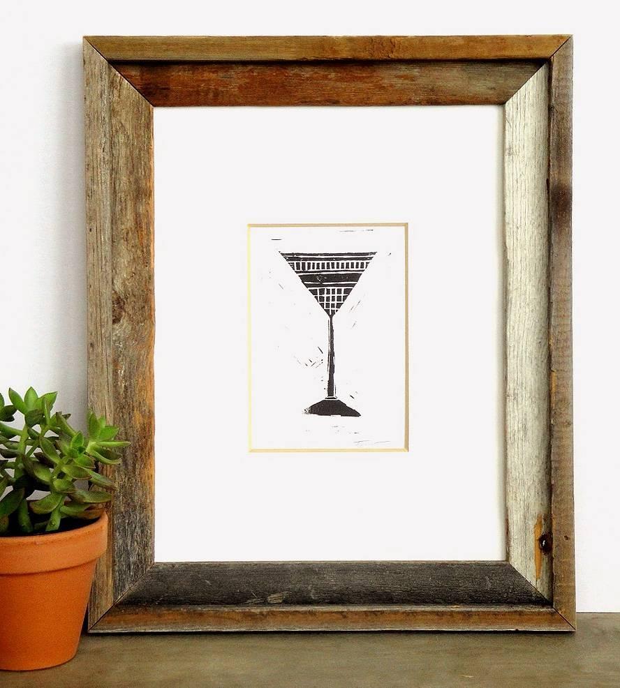 Martini Glass Linocut Art Print   Art Prints & Posters   Printwork Throughout Recent Martini Glass Wall Art (View 14 of 30)