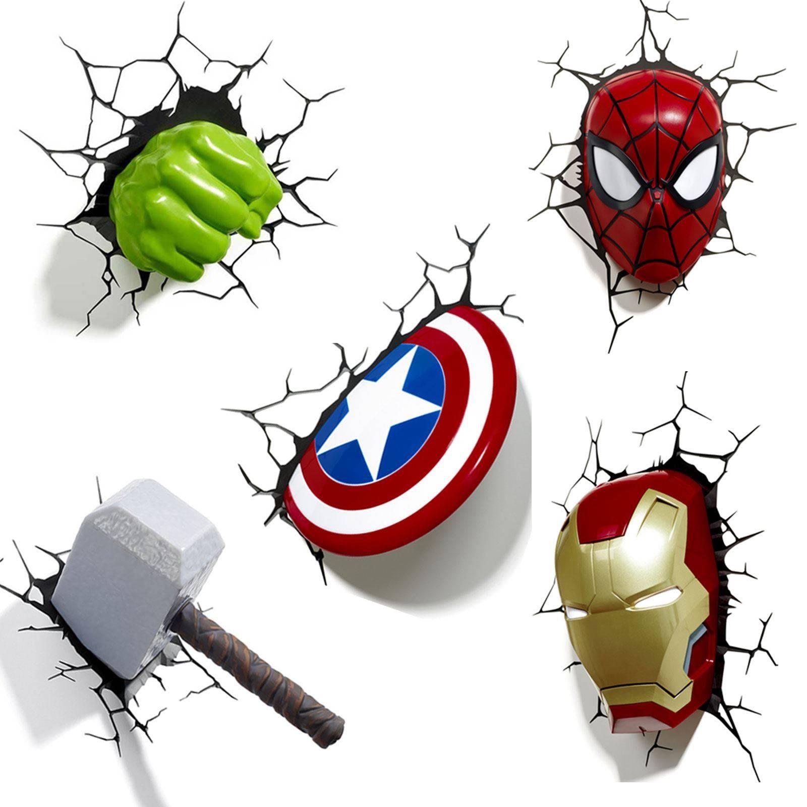 Marvel Avengers 3D Wall Light – Hulk, Iron Man, Captain America With Regard To 2017 Captain America 3D Wall Art (View 17 of 20)