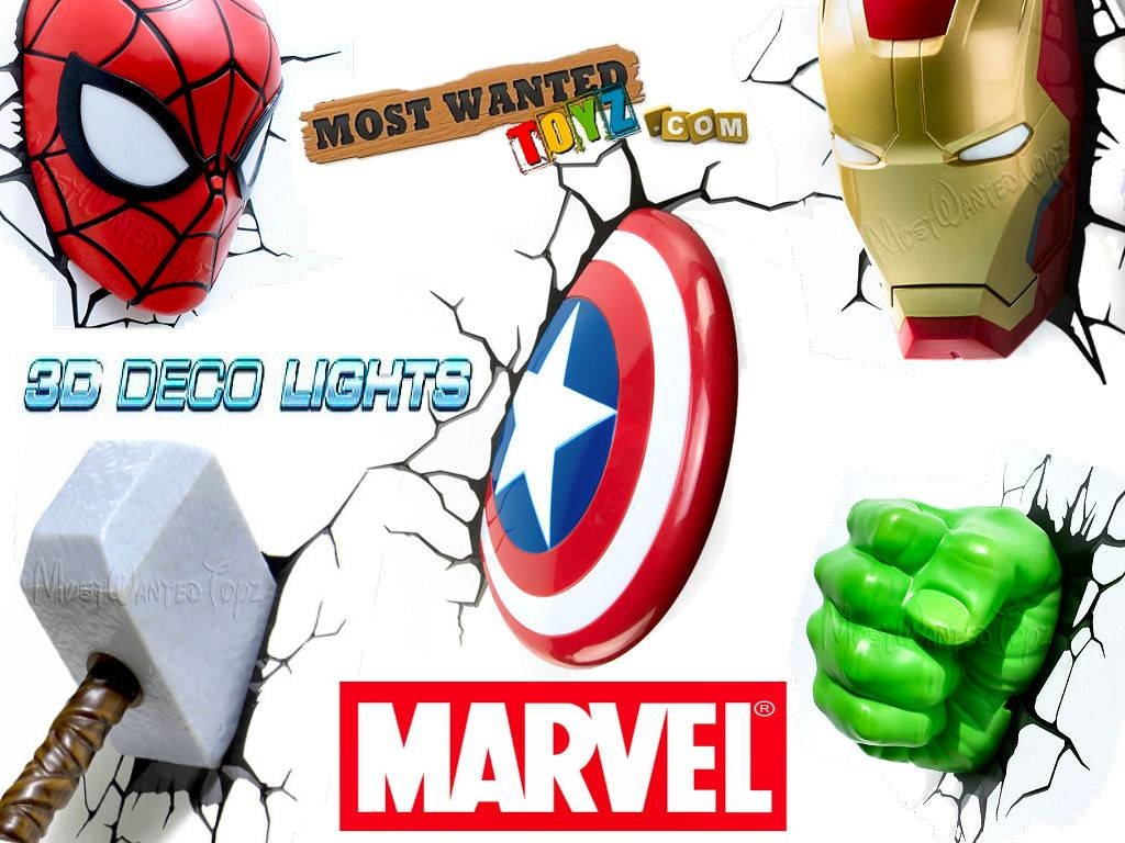 Marvel Avengers 3D Wall Lights Iron Man Thor Captain America Hulk In Current Thor Hammer 3D Wall Art (View 9 of 20)