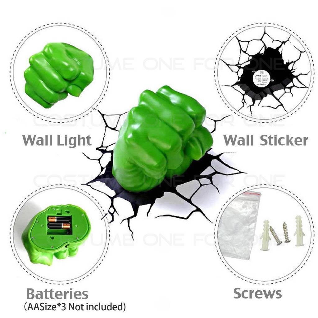 Marvel Avengers Hulk Face/head & Fist 3d Deco Wall Led Night Light With Regard To Current Hulk Hand 3d Wall Art (View 7 of 20)