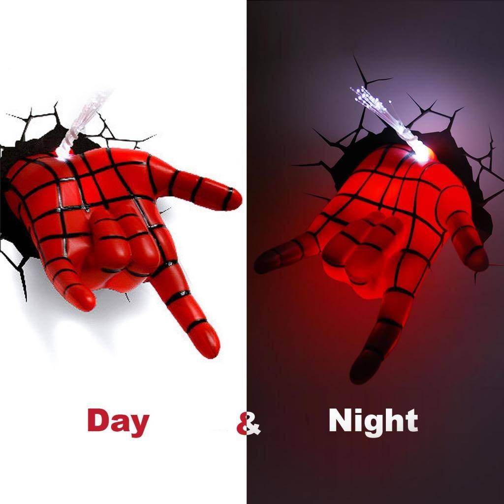 Marvel Avengers Spider Man Hand 3d Deco Wall Led Night Light Art Intended For Most Up To Date 3d Wall Art Night Light Spiderman Hand (View 2 of 20)