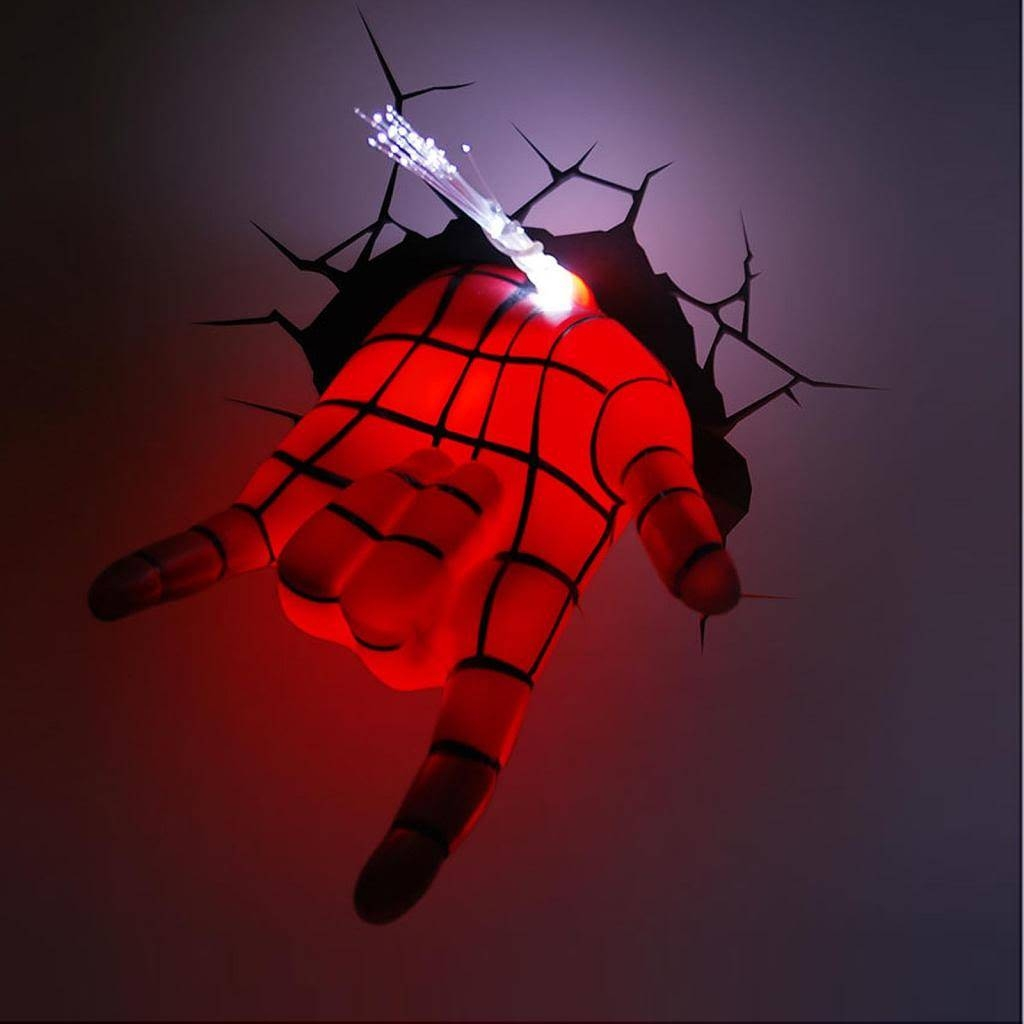 Marvel Avengers Spider Man Hand 3d Deco Wall Led Night Light Art With Regard To Recent 3d Wall Art Night Light Spiderman Hand (View 3 of 20)