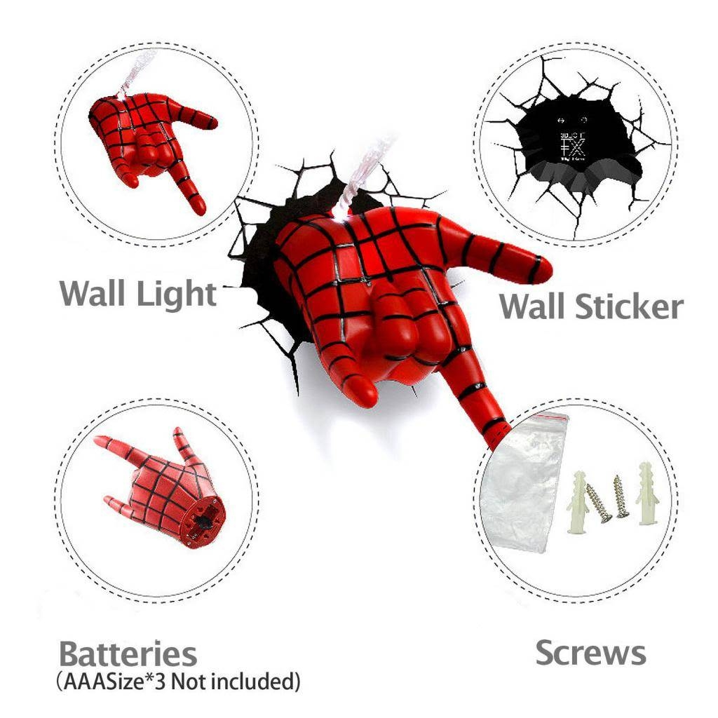 Marvel Avengers Spider Man Hand 3D Deco Wall Led Night Light Art Within Most Recently Released 3D Wall Art Night Light Spiderman Hand (View 18 of 20)
