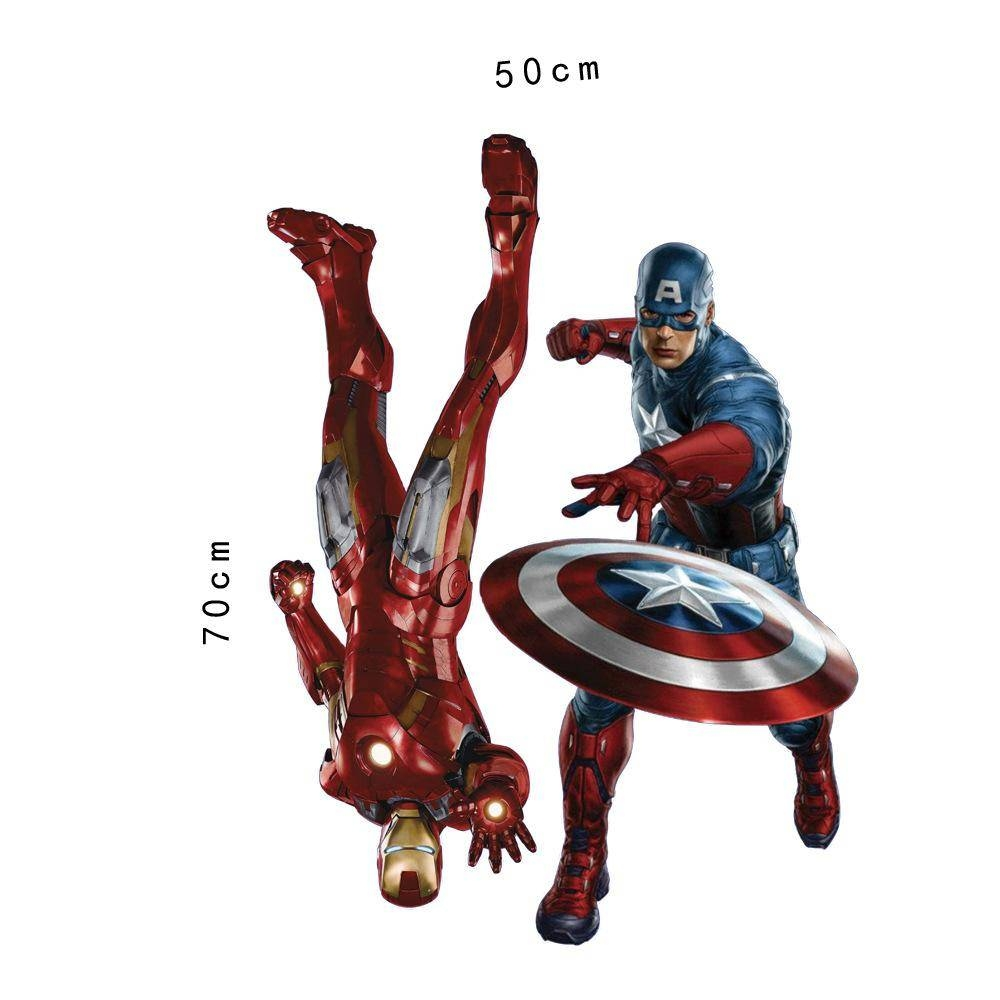 Marvel's The Avengers Iron Man Captain America Wall Sticker Decals Pertaining To Recent Captain America 3D Wall Art (View 18 of 20)
