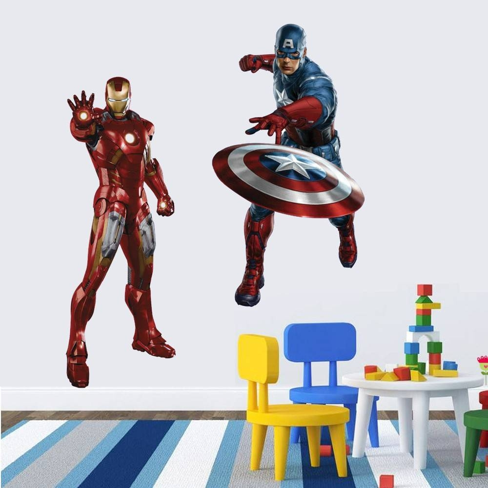 Marvel's The Avengers Iron Man Captain America Wall Sticker Decals With Regard To Most Popular Captain America 3D Wall Art (View 19 of 20)