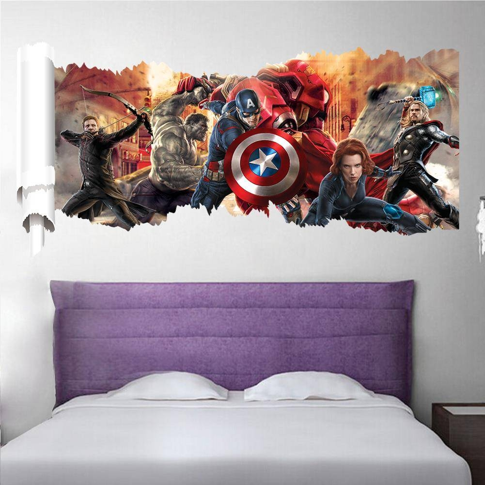 Marvel's The Avengers Wall Sticker Decals For Kids Room Home Decor With Most Current Love Coco 3D Vinyl Wall Art (View 10 of 20)