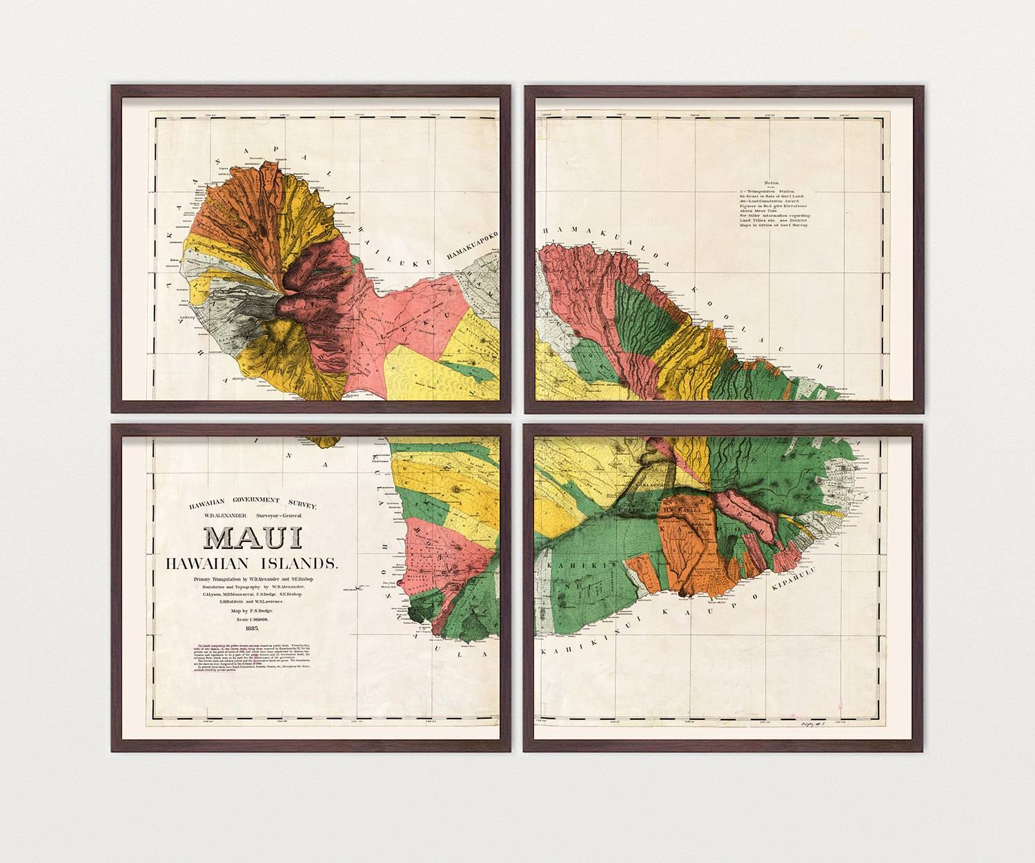 Maui Map – Antique Map – Archival Reproduction – Hawaii Art With Most Recently Released Hawaiian Wall Art (View 13 of 20)