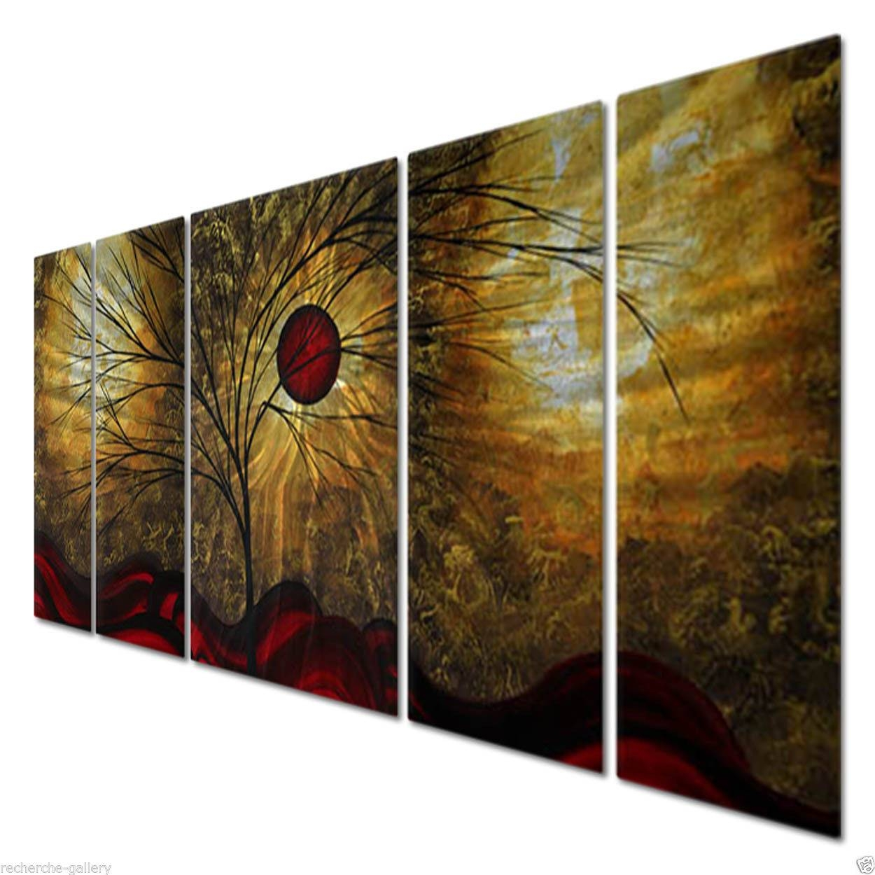 Megan Duncanson 'red Waves' Metal Wall Art Home Decor Contemporary With Most Recent Megan Duncanson Metal Wall Art (View 9 of 25)