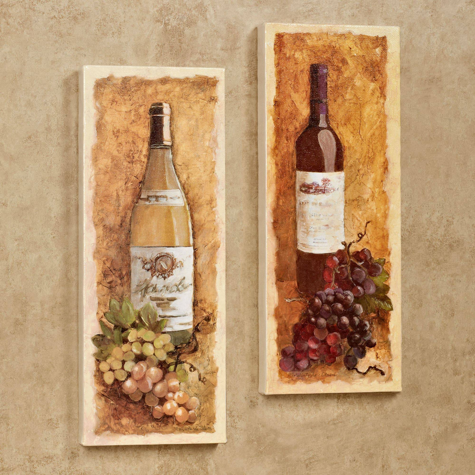 Merlot And Chardonnay Wine Canvas Wall Art Set Throughout Newest Grape Wall Art (View 17 of 22)