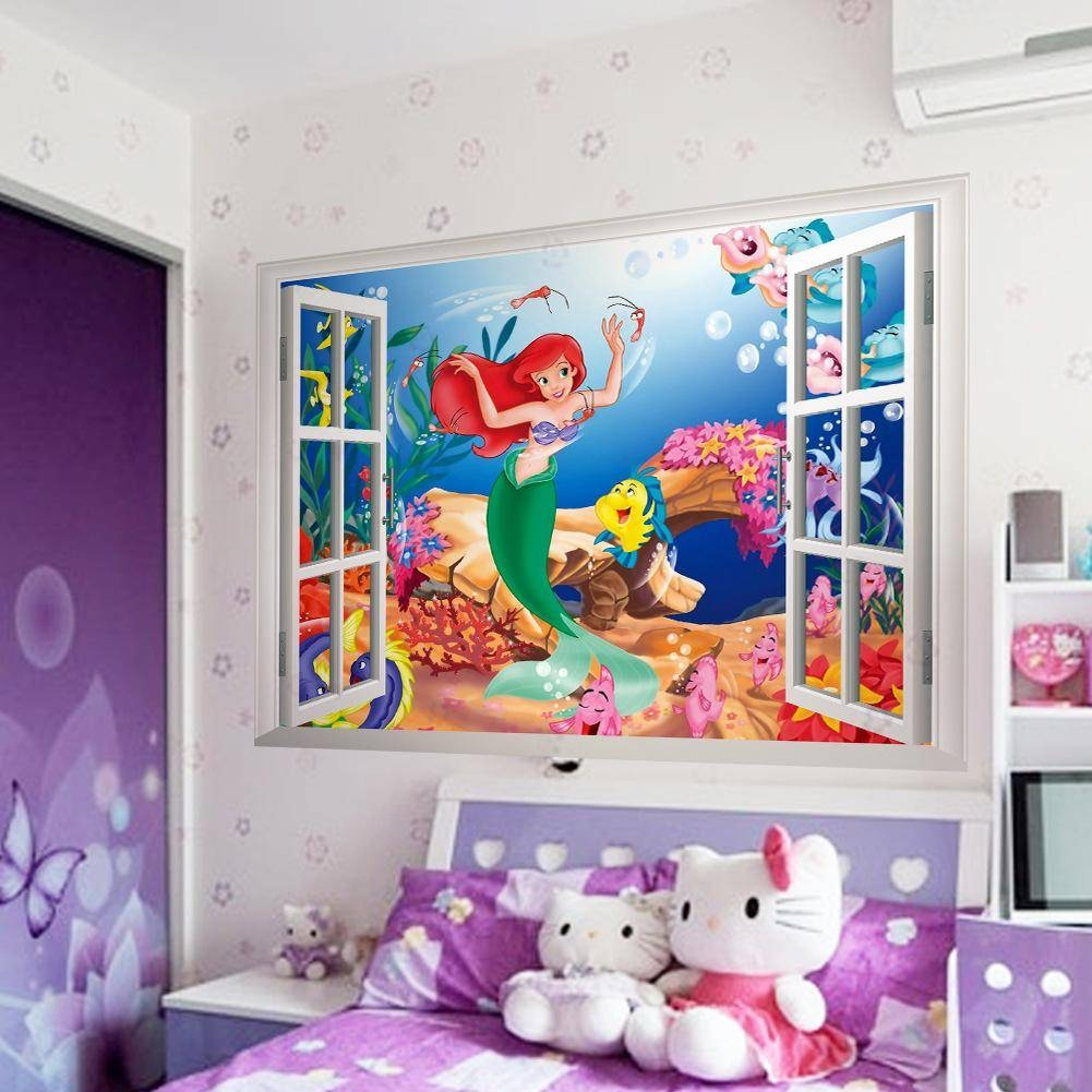 Mermaid Wall Stickers For Kids Rooms 3d Window Sticker Wall Art Intended For Most Recent Decorative 3d Wall Art Stickers (View 14 of 20)